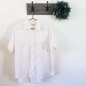 Madewell White Short Sleeve Button Down M